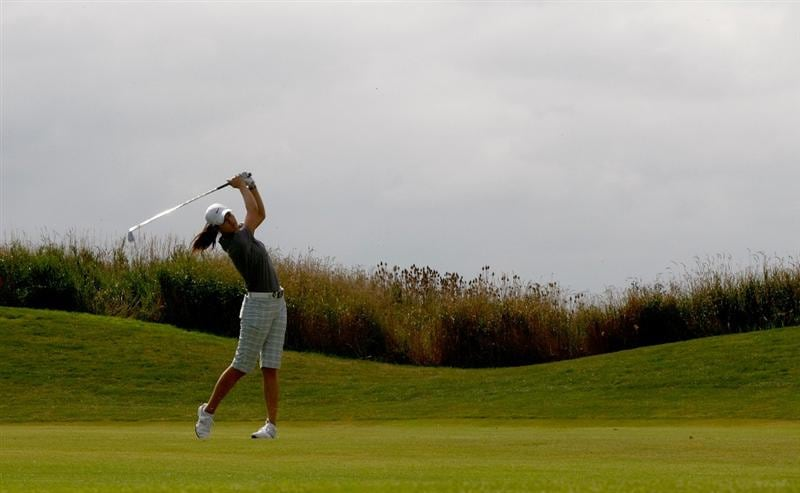 NORTH PLAINS, OR - AUGUST 30:  Michelle Wie hitds her second shot on the 9th hole during the final round of the Safeway Classic on August 30, 2009 on the Ghost Creek course at Pumpkin Ridge Golf Club in North Plains, Oregon.  (Photo by Jonathan Ferrey/Getty Images)