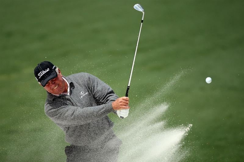 AUGUSTA, GA - APRIL 07:  Mark O'Meara plays a bunker shot during a practice round prior to the 2009 Masters Tournament at Augusta National Golf Club on April 7, 2009 in Augusta, Georgia.  (Photo by Andrew Redington/Getty Images)