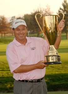 Loren Roberts holds his trophy after winning the season long competition for the Charles Schwab Cup during the fourth and final round of the Charles Schwab Championship Cup on October 28, 2007 at the Sonoma Golf Club in Sonoma, California. Champions Tour - 2007 Charles Schwab Cup Championship - Final RoundPhoto by Marc Feldman/WireImage.com
