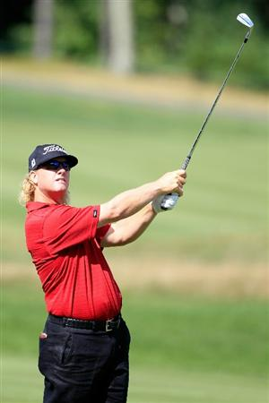 NORTON, MA - SEPTEMBER 05:  Charley Hoffman hits a shot on the sixth hole during the third round of the Deutsche Bank Championship at TPC Boston on September 5, 2010 in Norton, Massachusetts.  (Photo by Michael Cohen/Getty Images)
