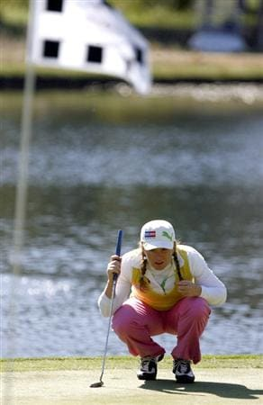 DANVILLE, CA - OCTOBER 11: Mikaela Parmlid of Sweden lines up a putt on the 7th hole during the third round of the LPGA Longs Drugs Challenge at the Blackhawk Country Club October 11, 2008 in Danville, California. (Photo by Max Morse/Getty Images)