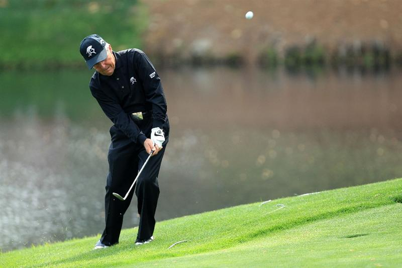 AUGUSTA, GA - APRIL 07:  Gary Player of South Africa hits a shot during the Par 3 Contest prior to the 2010 Masters Tournament at Augusta National Golf Club on April 7, 2010 in Augusta, Georgia.  (Photo by David Cannon/Getty Images)