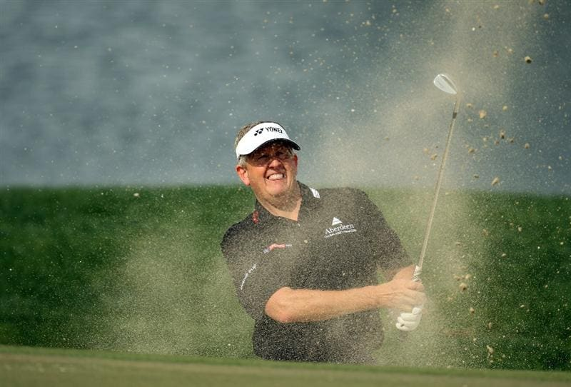 ABU DHABI, UNITED ARAB EMIRATES - JANUARY 19:  Colin Montgomerie of Scotland during the pro-am event prior to the Abu Dhabi HSBC Golf Championship at the Abu Dhabi Golf Club on January 19, 2011 in Abu Dhabi, United Arab Emirates.  (Photo by Ross Kinnaird/Getty Images)