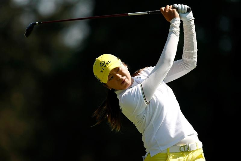 NORTH PLAINS, OR - AUGUST 30:  M. J. Hur tees off on the 14th hole during the final round of the Safeway Classic on August 30, 2009 on the Ghost Creek course at Pumpkin Ridge Golf Club in North Plains, Oregon.  (Photo by Jonathan Ferrey/Getty Images)