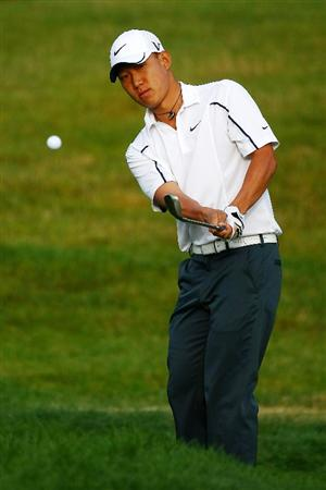 OAKVILLE, ONTARIO - JULY 26:  Anthony Kim plays his third shot on the 10th hole during round three of the RBC Canadian Open at Glen Abbey Golf Club on July 26, 2009 in Oakville, Ontario, Canada.  (Photo by Chris McGrath/Getty Images)
