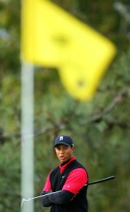 Tiger Woods looks at the pin flag on the 11th hole during the final round of the Buick Invitational on January 27, 2008 at the Torrey Pines Golf Course in  La Jolla, California.  Woods won by a 8-stroke lead with a 19-under par for the tournament. PGA TOUR - 2008 Buick Invitational - Final RoundPhoto by Donald Miralle/Getty Images