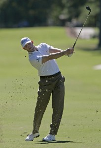 James Driscoll hits his approach shot on the 13th hole during the second round of the Southern Farm Bureau Classic at Annandale Golf Club in Madison, Mississippi, on September 29, 2006. Photo by Hunter Martin/WireImage.com