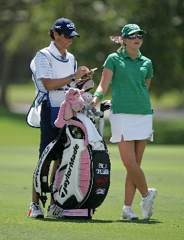 KAPOLEI, HI - FEBRUARY 21: Paula Creamer and her caddie are pictured on the 9th hole during the first round of the Fields Open on February 21, 2008 at the Ko Olina Golf Club in Kapolei, Hawaii. (Photo by Andy Lyons/Getty Images)