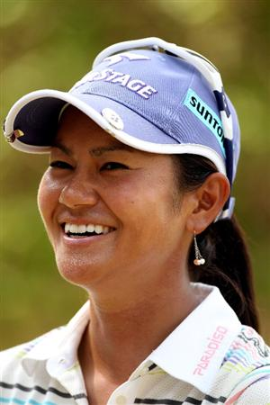 SINGAPORE - FEBRUARY 26:  Ai Miyazato of Japan smiles during an interview following the second round of the HSBC Women's Champions at the Tanah Merah Country Club on February 26, 2010 in Singapore.  (Photo by Andrew Redington/Getty Images)