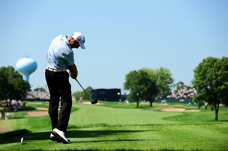 CHASKA, MN - AUGUST 14:  Ross Fisher of England hits his tee shot on the ninth hole during the second round of the 91st PGA Championship at Hazeltine National Golf Club on August 14, 2009 in Chaska, Minnesota.  (Photo by Stuart Franklin/Getty Images)