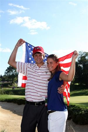 ARDMORE, PA - SEPTEMBER 13:  Peter Uihlein of the USA with his girlfriend Alessia Knight of Italy after he had secured the winning point for the USA team to clinch victory during the final afternoon singles matches on the East Course at Merion Golf Club on September 13, 2009 in Ardmore, Pennsylvania  (Photo by David Cannon/Getty Images)