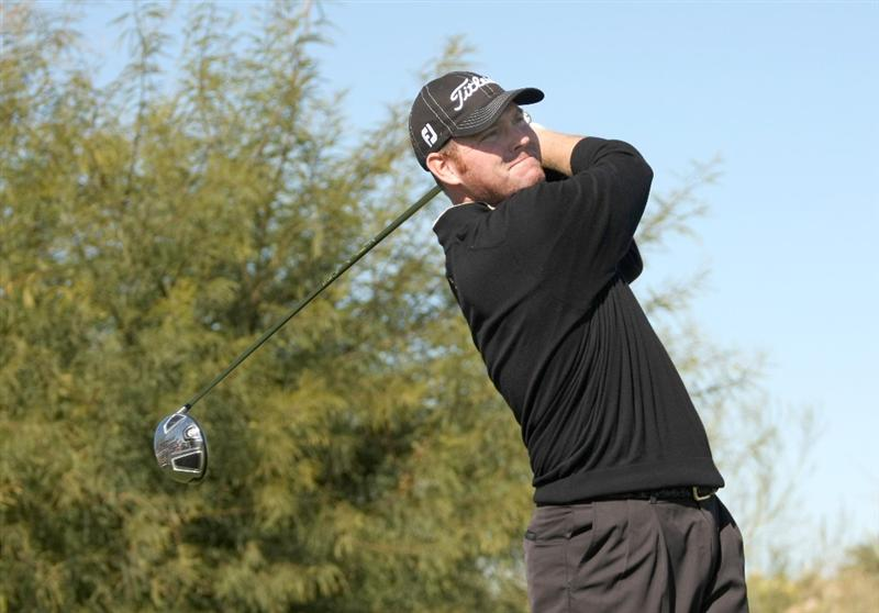 SCOTTSDALE, AZ - JANUARY 31:  Troy Matteson hits his tee shot on the ninth hole during the third round of the FBR Open on January 31, 2009 at TPC Scottsdale in Scottsdale, Arizona.  (Photo by Stephen Dunn/Getty Images)