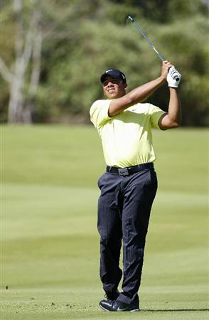 PLAYA DEL CARMEN, MEXICO - FEBRUARY 25:  Jhonattan Vegas of Venezuela hits a shot from the fairway during the second round of the Mayakoba Golf Classic at Riviera Maya-Cancun held at El Camaleon Golf Club on February 25, 2011 in Playa del Carmen, Mexico.  (Photo by Michael Cohen/Getty Images)