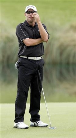LAS VEGAS, NV - OCTOBER 22: Brian Davis of England reacts to missing his birdie putt on the 18th hole during the second round of the Justin Timberlake Shriners Hospitals for Children Open on October 22, 2010 in Las Vegas, Nevada. (Photo by Steve Dykes/Getty Images)