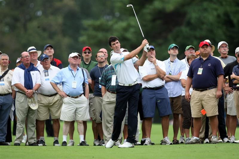 ARDMORE, PA - SEPTEMBER 13:  Niall Kearney of Ireland and the Great Britain and Ireland Team plays his second shot at the 8th hole during the morning foursome matches on the East Course at Merion Golf Club on September 13, 2009 in Ardmore, Pennsylvania  (Photo by David Cannon/Getty Images)