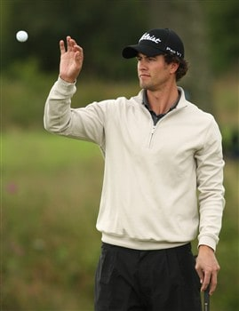 LUSS, UNITED KINGDOM - JULY 10:  Adam Scott of Australia catches his ball during the First Round of The Barclays Scottish Open at Loch Lomond Golf Club on July 10, 2008 in Luss, Scotland.  (Photo by Warren Little/Getty Images)