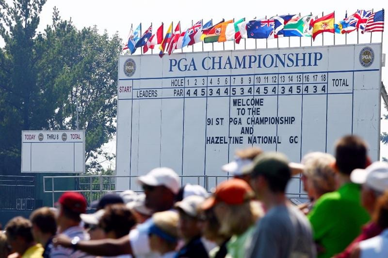 CHASKA, MN - AUGUST 12: A leaderboard is seen as fans look on during the third preview day of the 91st PGA Championship at Hazeltine National Golf Club on August 12, 2009 in Chaska, Minnesota.  (Photo by Jamie Squire/Getty Images)
