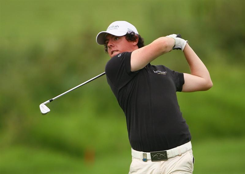 NELSPRUIT, SOUTH AFRICA - DECEMBER 12:  Rory McIlroy of Northern Ireland plays his second shot onto the 18th green during the second round of the Alfred Dunhill Championship at Leopard Creek Country Club on December 12, 2008 in Malelane, South Africa.  (Photo by Warren Little/Getty Images)