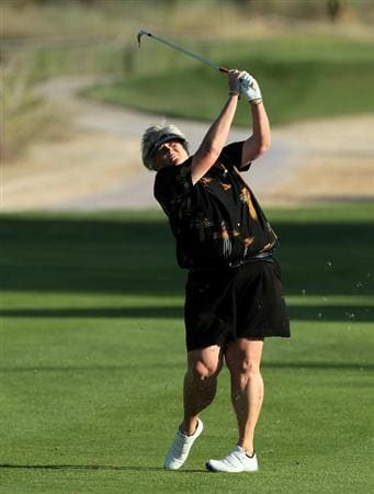 DUBAI, UNITED ARAB EMIRATES - DECEMBER 08:  Laura Davies of England plays her second shot on the 16th hole during the first round of the 2010 Omega Dubai Ladies Masters on the Majilis Course at The Emirates Golf Club on December 8, 2010 in Dubai, United Arab Emirates.  (Photo by David Cannon/Getty Images)