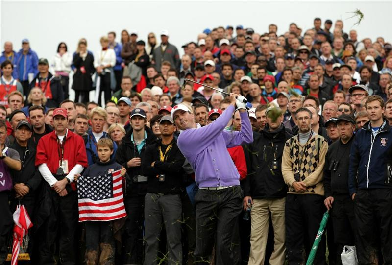 NEWPORT, WALES - OCTOBER 02:  Matt Kuchar of the USA hits a shot from the rough on the 18th hole during the rescheduled Afternoon Foursome Matches during the 2010 Ryder Cup at the Celtic Manor Resort on October 2, 2010 in Newport, Wales.  (Photo by Andrew Redington/Getty Images)