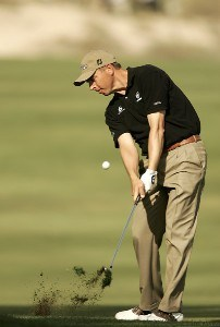 Anders Hansen during the third round of the Dubai Desert Classic at the Emirates Golf Club in Dubai, United Arab Emirates on February 4, 2006.Photo by Pete Fontaine/WireImage.com