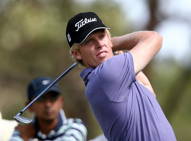 PERTH, AUSTRALIA - FEBRUARY 21:  Andrew Dodt of Australia plays his tee shot on the 5th hole during round three of the 2009 Johnnie Walker Classic at The Vines Resort and Country Club on February 21, 2009 in Perth, Australia.  (Photo by Paul Kane/Getty Images)