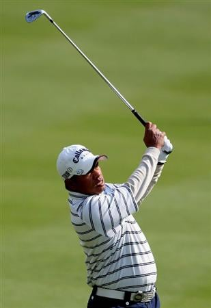 MIYAZAKI, JAPAN - NOVEMBER 21:  Prayad Marksaeng of Thailand hits his approach shot on the 13th hole during the second round of the Dunlop Phoenix Tournament 2008 at Phoenix Country Club on November 21, 2008 in Miyazaki, Japan.  (Photo by Koichi Kamoshida/Getty Images)