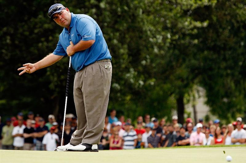 GRAND BLANC, MI - AUGUST 01:  Kevin Stadler reacts to a missed putt on the 7th hole during round three of the Buick Open at Warwick Hills Golf and Country Club on August 1, 2009 in Grand Blanc, Michigan.  (Photo by Chris Graythen/Getty Images)