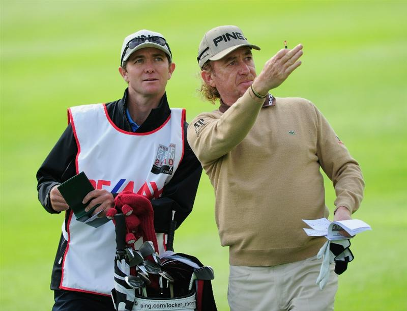 VIENNA, AUSTRIA - SEPTEMBER 17: Miguel Angel Jimenez of Spain and caddie Mike Kerr check the wind direction during the second round of the Austrian golf open presented by Botarin at the Diamond country club on September 17, 2010 in Atzenbrugg near Vienna, Austria  (Photo by Stuart Franklin/Getty Images)