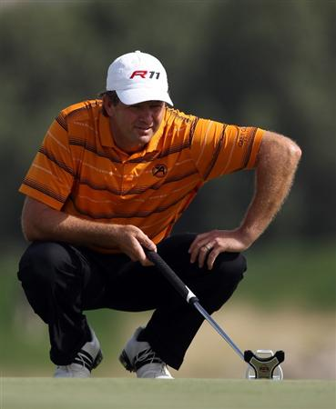 DOHA, QATAR - FEBRUARY 05:  Retief Goosen of South Africa during the third round of the Commercialbank Qatar Masters at the Doha Golf Club on February 5, 2011 in Doha, Qatar.  (Photo by Ross Kinnaird/Getty Images)