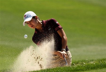 RANCHO MIRAGE, CA - APRIL 3:  Lorena Ochoa of Mexico hits out of a bunker on the 15th hole during the first round of the Kraft Nabisco Championship at Mission Hills Country Club April 3, 2008 in Rancho Mirage, California.  (Photo by Stephen Dunn/Getty Images)