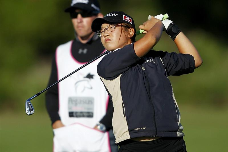 PEGASUS, NEW ZEALAND - FEBRUARY 17: Cecilia Cho of New Zealand plays a shot on the 17th hole during day one of the Women's New Zealand Open at Pegasus Golf Club on February 17, 2011 in Pegasus, New Zealand.  (Photo by Martin Hunter/Getty Images)