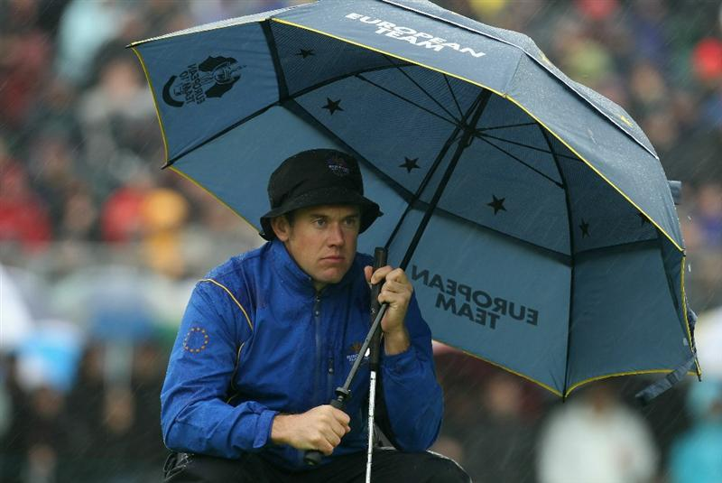 NEWPORT, WALES - OCTOBER 01:  Lee Westwood of Europe looks on during the Morning Fourball Matches during the 2010 Ryder Cup at the Celtic Manor Resort on October 1, 2010 in Newport, Wales.  (Photo by Ross Kinnaird/Getty Images)