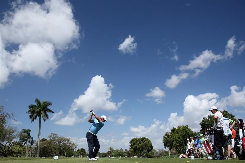 DORAL, FL - MARCH 14: Paul Casey of England drives at the second hole during the third round of the World Golf Championships-CA Championship at the Doral Golf Resort & Spa on March 14, 2009 in Doral, Florida  (Photo by David Cannon/Getty Images)