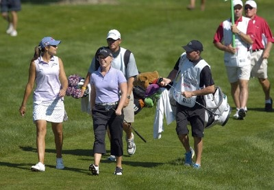 Laura Diaz and Morgan Pressel during the second round of  the Canadian Women's Open at the London Hunt and Country Club in London, Ontario on August 11, 2006.