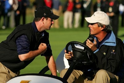 Rory Sabbatini of the International Team talks to assistant captain Ian Baker-Finch on the 9th hole during the third day Foursome matches at The Presidents Cup at The Royal Montreal Golf Club on September 29, 2007 in Montreal, Quebec, Canada. PGA TOUR - 2007 The Presidents Cup - Third RoundPhoto by Streeter Lecka/WireImage.com