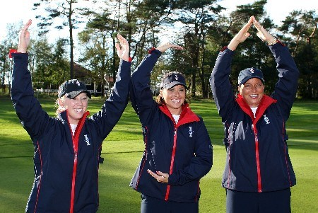 HALMSTAD, SWEDEN - SEPTEMBER 11:  USATeam members Morgan Pressel, Stacy Prammanasudh, and Sherri Steinhauer spell U-S-A with there arms during practice prior to the start of the Solheim Cup at Halmstad Golf Club on September 11, 2007 in Halmstad, Sweden.  (Photo by Scott Halleran/Getty Images)