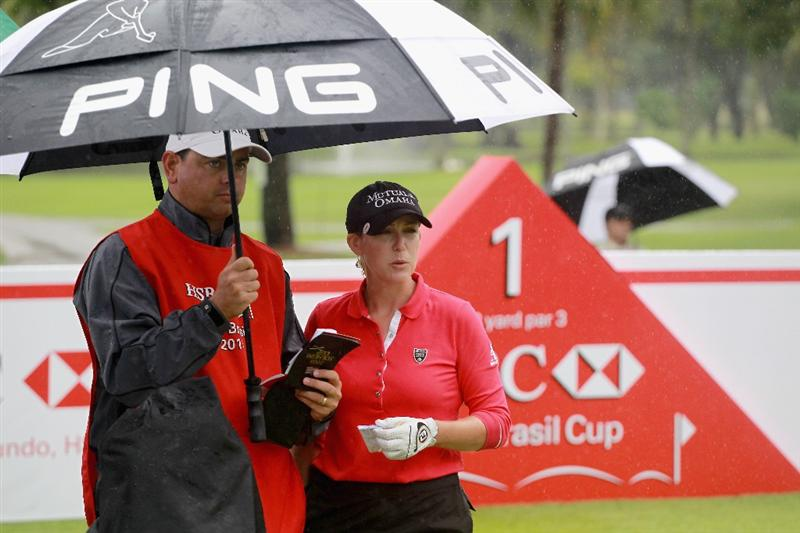 RIO DE JANEIRO, BRAZIL - MAY 28:  Cristie Kerr of the USA waits on the first tee with her caddie Jason Gilroyd during the first round of the HSBC LPGA Brazil Cup at the Itanhanga Golf Club on May 28, 2011 in Rio de Janeiro, Brazil.  (Photo by Scott Halleran/Getty Images)