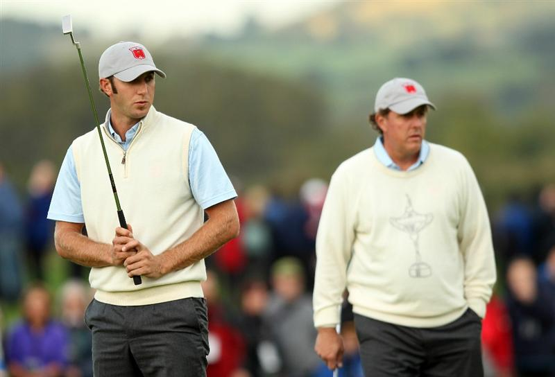 NEWPORT, WALES - OCTOBER 01:  Dustin Johnson of the USA reacts to a putt during the Morning Fourball Matches during the 2010 Ryder Cup at the Celtic Manor Resort on October 1, 2010 in Newport, Wales.  (Photo by Ross Kinnaird/Getty Images)