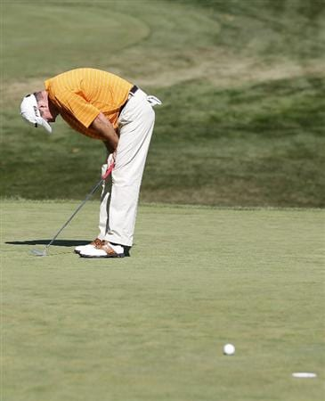 CANONSBURG, PA - SEPTEMBER 05:  Geoffrey Sisk reacts after missing a birdie putt on the 18th green hole during the final round of the Mylan Classic presented by CONSOL Energy at Southpointe Golf Club on September 5, 2010 in Canonsburg, Pennsylvania.  (Photo by Gregory Shamus/Getty Images)