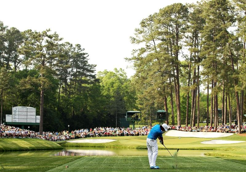 AUGUSTA, GA - APRIL 08:  Rickie Fowler hits his tee shot on the 16th hole during the second round of the 2011 Masters Tournament at Augusta National Golf Club on April 8, 2011 in Augusta, Georgia.  (Photo by Andrew Redington/Getty Images)