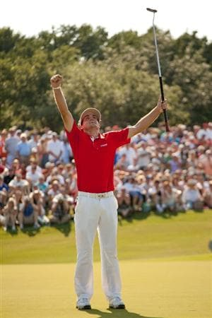 IRVING, TX - MAY 29: Keegan Bradley raises his arms to celebrate his victory at the HP Byron Nelson Championship at TPC Four Seasons at Las Colinas on May 29, 2011 in Irving, Texas. (Photo by Darren Carroll/Getty Images)