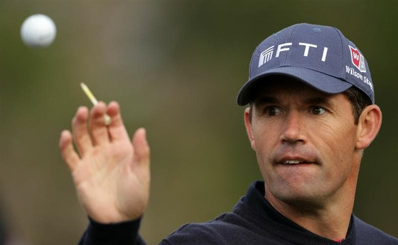 PEBBLE BEACH, CA - JUNE 16:  Padraig Harrington of Ireland reaches for a golf ball on the practice ground during a practice round prior to the start of the 110th U.S. Open at Pebble Beach Golf Links on June 16, 2010 in Pebble Beach, California.  (Photo by Andrew Redington/Getty Images)