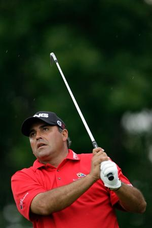CHASKA, MN - AUGUST 13:  Angel Cabrera of Argentina watches his tee shot on the eighth hole during the first round of the 91st PGA Championship at Hazeltine National Golf Club on August 13, 2009 in Chaska, Minnesota.  (Photo by Jamie Squire/Getty Images)