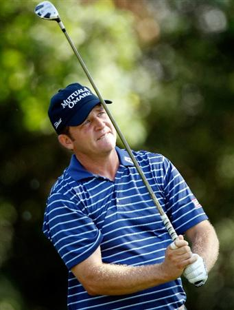 FT. WORTH, TX - MAY 27:  Jason Bohn watches his tee shot on the ninth hole during the first round of the 2010 Crowne Plaza Invitational at the Colonial Country Club on May 27, 2010 in Ft. Worth, Texas  (Photo by Scott Halleran/Getty Images)