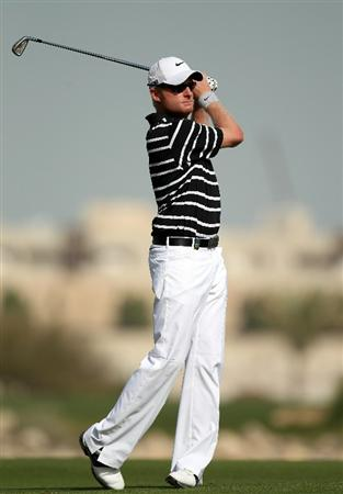 DOHA, QATAR - FEBRUARY 05:  Simon Dyson of England during the third round of the Commercialbank Qatar Masters at the Doha Golf Club on February 5, 2011 in Doha, Qatar.  (Photo by Ross Kinnaird/Getty Images)