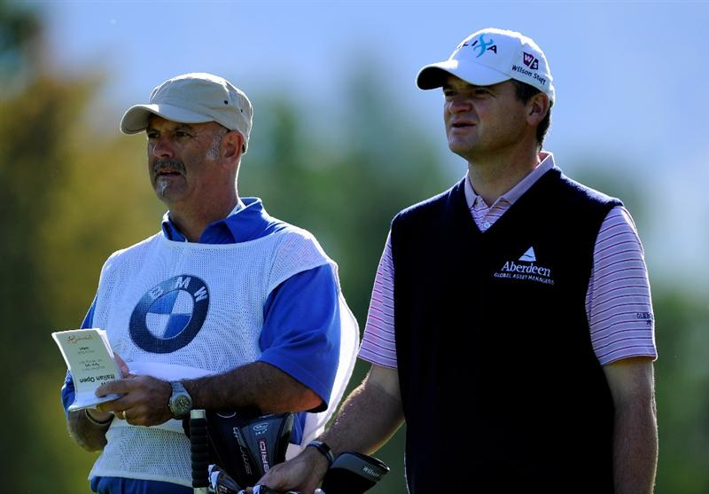 TURIN, ITALY - MAY 06:  Paul Lawrie of Scotland and caddie Andy Forsyth on the 11th hole during the first round of the BMW Italian Open at Royal Park I Roveri on May 6, 2010 in Turin, Italy.  (Photo by Stuart Franklin/Getty Images)