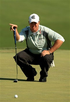 CHARLOTTE, NC - MAY 01:  Boo Weekley lines up a putt on the 8th green during the first round of the Wachovia Championship at Quail Hollow Country Club on May 1, 2008 Charlotte, North Carolina.  (Photo by Richard Heathcote/Getty Images)