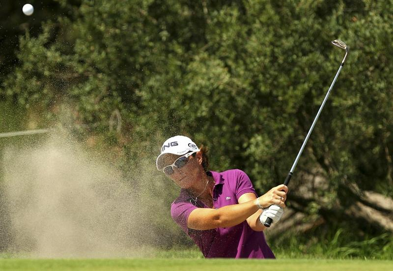 MELBOURNE, AUSTRALIA - FEBRUARY 03:   Gwladys Nocera of France plays a shot out of the bunker during day one of the Women's Australian Open at The Commonwealth Golf Club on February 3, 2011 in Melbourne, Australia.  (Photo by Lucas Dawson/Getty Images)