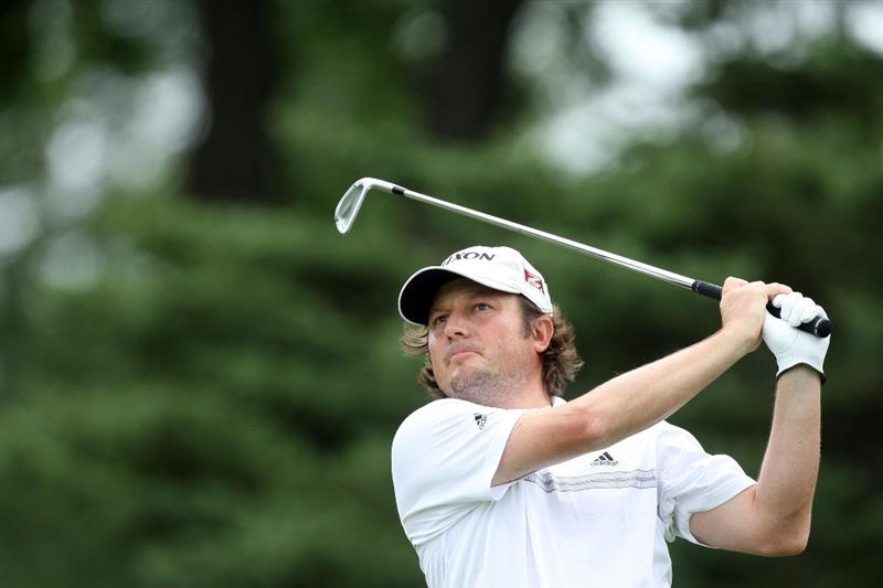 CHASKA, MN - AUGUST 15:  Tim Clark of South Africa watches his his tee shot on the eighth hole during the third round of the 91st PGA Championship at Hazeltine National Golf Club on August 15, 2009 in Chaska, Minnesota.  (Photo by David Cannon/Getty Images)